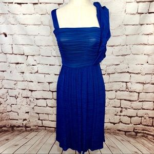 Tracy Reese Cobalt Blue Ruched Draped Dress